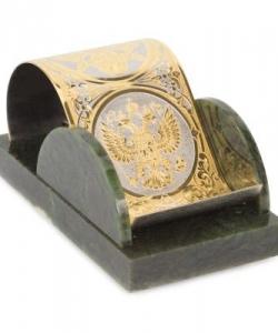 Подставка под телефон  Герб России  нефрит 155х90х75 мм 970 гр.