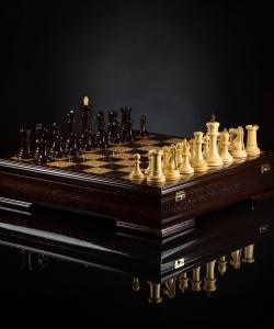 Шахматы Стаунтон Люкс (венге/самшит)