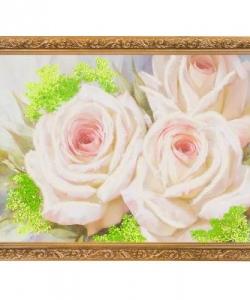 Картина  Бело-розовые розы  багет гипс №4 (30х40 см) ЛИ4