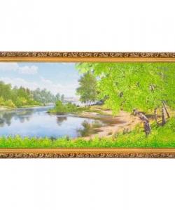 Картина  Берёзы у реки  багет №6,5 (33х70 см) ПИ9