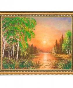 Картина  Закат в Сибири  багет №4 (30х40 см) 31146