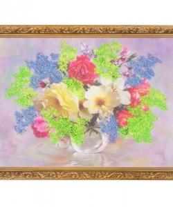 Картина  Розы в кувшинчике  багет гипс №4 (30х40 см) БИ5