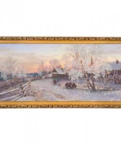 Картина  Зимний вечер в деревне  багет №6,5 (33х70 см) БС30