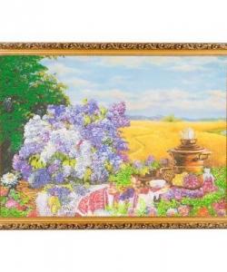 Картина  Русское чаепитие с самоваром  багет №7 (50х70 см) К587