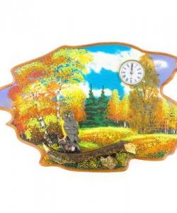 Часы с картиной  Филин осень  50х32 см