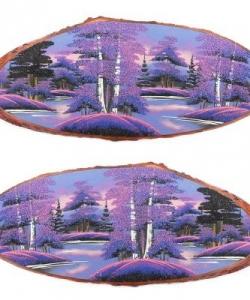 Панно на срезе дерева  Рассвет  горизонтальное 90-95 см