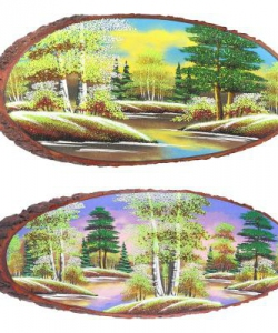Панно на срезе дерева  Весна  горизонтальное 45-50 см