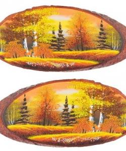 Панно на срезе дерева  Осень янтарная  горизонтальное 40-45 см