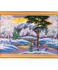 Картина  Зимний пейзаж  багет дерево №6 (40х60 см) гориз. в ассортименте