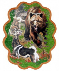 Панно  Охота на медведя  №3 (34х26 см)