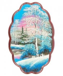 Панно овальное  Зима  №3 вертикальное (30х19 см) в ассортименте