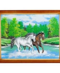 Картина  Две лошади  багет дерево №4 (30х40 см)