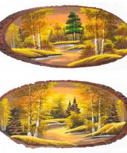 Панно на срезе дерева  Осень золотая  горизонтальное 60-65 см