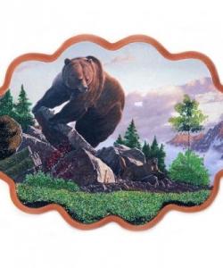 Панно  Медведь на камнях  №3 (34х26 см)