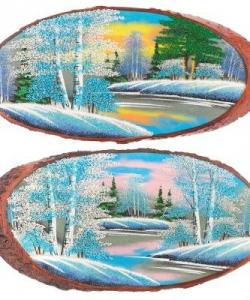Панно на срезе дерева  Зима  горизонтальное 45-50 см