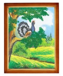 Картина  Глухарь  багет дерево №4 (30х40 см)