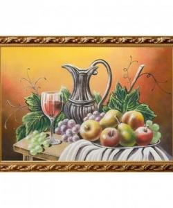 Натюрморт  Фрукты с кувшином вина  багет гипс №6 (40х60 см)