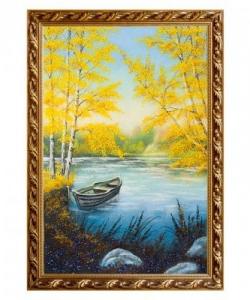 Картина  Лодка в осеннем пруду  багет гипс №6 (40х60 см)