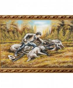 Картина  Охота на кабана  багет гипс №6 (40х60 см)