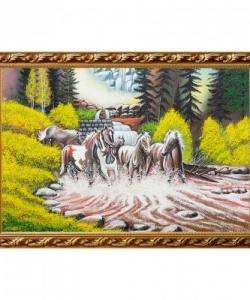 Картина  Бегущие лошади  багет гипс №6 (40х60 см)