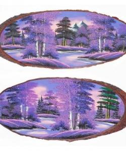 Панно на срезе дерева  Рассвет  горизонтальное 85-90 см