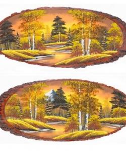 Панно на срезе дерева  Осень золотая  горизонтальное 100-105 см
