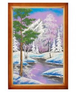 Картина  Зимний пейзаж  багет дерево №6 (40х60 см) верт. в ассортименте