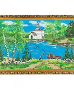 Картина  Церковь и лодка  багет №6 (40х60 см)