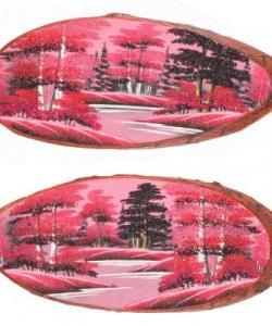 Панно на срезе дерева  Розовый закат  горизонтальное 65-70 см