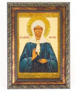 Икона Матрона Московская рамка багет №1 (10х15см)