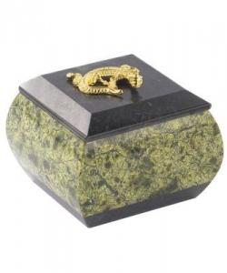 Шкатулка для украшений змеевик 70х70х70 мм 300 гр.
