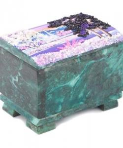 Шкатулка  Сундучок  змеевик рисунок зима в ассортименте 115х80х90 мм 1000 гр.