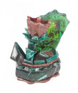 Ларец  Каменный цветок  с иллюстрацией змеевик лемезит 195х155х245 мм 3470 гр.