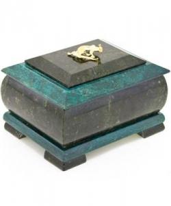 Шкатулка для украшений камень змеевик 120х100х80 мм 1160 гр.